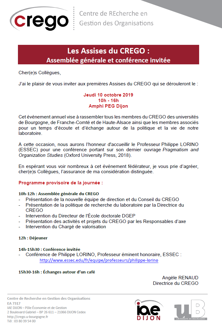 Programme Assises CREGO 2019
